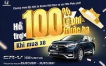 Hỗ trợ 100% lệ phí trước bạ khi mua Honda CR-V