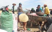 Cả trăm người đi vớt 'lộc biển' dạt vào bờ sau mưa bão