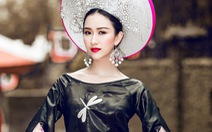 Hà Thu trình diễn áo dài hoa sen tại Hoa hậu Liên lục địa