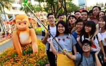 Khỉ đã xuất hiện ởđường hoa xuân Phú Mỹ Hưng
