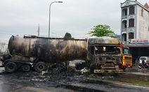 Xe bồn cùng xe container cháy trơ khung sau va chạm