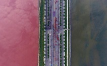 Hàng ngàn du khách đổ xô xem hồ nước đổi màu hồng