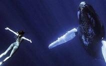 Nữ sinh chụp ảnh cùng sinh vật biển