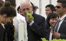 Thăm dự án nông nghiệp, tổng thống Israel hái rau ăn thử tại chỗ