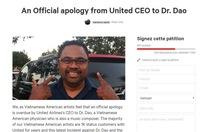 Cộng đồng người Việt bất bình United Airlines vụ bác sĩDavid Dao