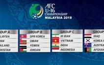 Điểm tin tối 26-4: U-16 VN gặp Ấn độ, Iran và Indonesia ở Giải châu Á 2018