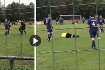 Video: bị truất quyền thi đấu, cầu thủ tung cú đấm hạ đo ván trọng tài