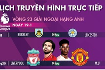 Lịch trực tiếp bóng đá châu Âu ngày 19-1: Tâm điểm Liverpool - Man United
