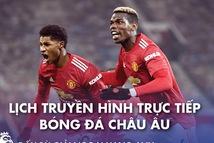 Lịch trực tiếp bóng đá châu Âu 21-1: Man City và Man United ra sân