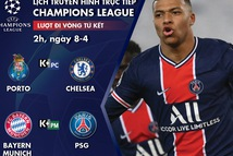 Lịch trực tiếp tứ kết Champions League: Porto - Chelsea, Bayern - PSG