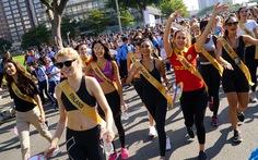 76 người đẹp Hoa hậu hòa bình tham gia đi bộ 10.000 bước chân