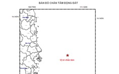 Xuất hiện một trận động đất nhẹ trên biển Đông