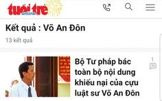 Tòa án trả đơn kiện Bộ trưởng Tư pháp của cựu luật sư Võ An Đôn