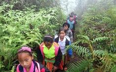 Xót xa cảnh băng rừng già đến trường của những đứa trẻ Làng Sáng