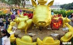 Đàn heo vàng xuất hiện tại hội chợ hoa xuân Phú Mỹ Hưng