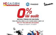 Ưu đãi lãi suất 0% hút người tiêu dùng mua trả góp xe Piaggio