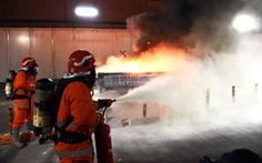 Diễn tập phòng cháy chữa cháy tại đường hầm sông Sài Gòn