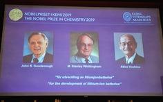 Nobel hóa học 2019 tôn vinh các công trình phát triển pin lithium-ion