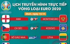 Lịch trực tiếp vòng loại Euro 2020: Chờ tuyển Anh, Pháp và Bồ Đào Nha giành vé