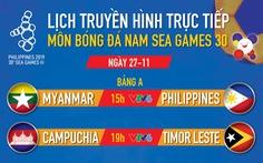 Lịch trực tiếp bóng đá nam SEA Games 27-11: Tâm điểm Myanmar gặp Philippines