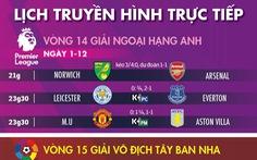 Lịch trực tiếp bóng đá hôm nay 1-12 và rạng sáng 2-12