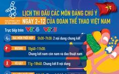 Lịch thi đấu của đoàn thể thao Việt Nam tại SEA Games 30 ngày 2-12
