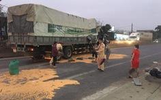 CSGT cùng người dân giúp tài xế thu gom ngô đổ ra đường sau tai nạn