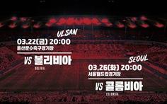 Colombia thay Việt Nam đá giao hữu Hàn Quốc ngày 26-3