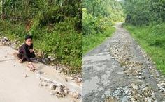 Yêu quá cụ bà 71 tuổi lụi cụi dọn đá trôi ra đường sau mưa
