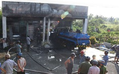 Cháy cửa hàng xăng dầu, 2 người bị thương