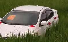 Trên đường ăn cưới về, tài xế ngủ gục 'đậu' luôn ôtô... dưới ruộng