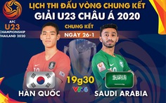 Lịch trực tiếp chung kết Giải U23 châu Á 2020: Hàn Quốc gặp Saudi Arabia