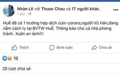 Tung tin trên Facebook ở Huế xuất hiện virus corona, bị triệu tập