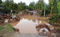 Sạt đường, triều cường tràn vào ngập úng vườn cây 120 hộ dân