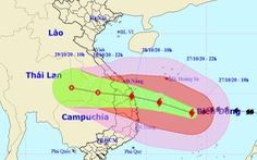 Trưa 27-10, bão số 9 cách Đà Nẵng - Phú Yên 447km, giật cấp 17