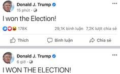 Ông Trump 2 lần trong ngày tuyên bố 'đã chiến thắng bầu cử'