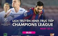 Lịch trực tiếp Champions League 25-11: PSG gặp Leipzig