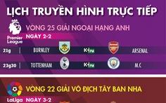 Lịch trực tiếp bóng đá châu Âu ngày 2-2: Tottenham gặp Man City