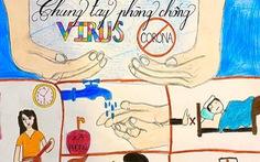 Học sinh vẽ tranh về phòng dịch virus corona, 'chống dịch như chống giặc'