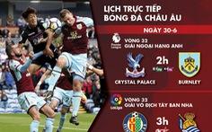 Lịch trực tiếp bóng đá châu Âu ngày 30-6