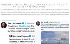 Hàng loạt nghị sĩ Mỹ: 'Nói đơn giản vầy thôi: yêu sách của Trung Quốc ở Biển Đông là phi pháp'