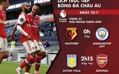 Lịch trực tiếp vòng 32 Giải ngoại hạng Anh: Arsenal, Man City ra sân