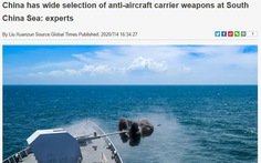 Báo Trung Quốc dọa Mỹ: 'Bắc Kinh có nhiều sát thủ diệt tàu sân bay ở Biển Đông'
