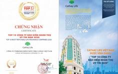 Cathay Life Việt Nam được vinh danh TOP 10 công ty bảo hiếm nhân thọ uy tín