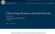 Mỹ chỉ trích: Tại Mỹ năm 2015, Trung Quốc hứa không quân sự hóa Trường Sa chỉ là hứa suông