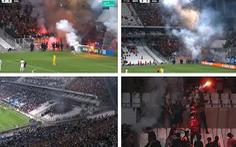 Cổ động viên ném pháo sáng khắp nơi, trận Marseille với Galatasaray bị hoãn 8 phút