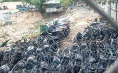 Bãi giữ xe vi phạm ở TP Thủ Đức cháy do chập điện