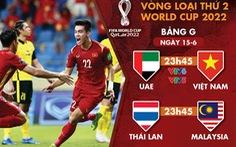 Lịch trực tiếp vòng loại World Cup 2022: Việt Nam - UAE
