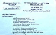 Đề văn lớp 10 ở Khánh Hòa: 'Tìm cách từ chối những ân cần của cha mẹ?'