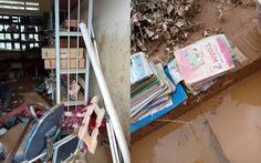 Trường học ở Si Ma Cai ngập sâu 4-5 mét sau mưa lớn, nhiều máy tính, sách vở hư hỏng